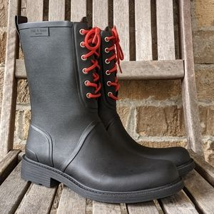 rag & bone Black Ansel Rubber Lace Up Rain Boot 39